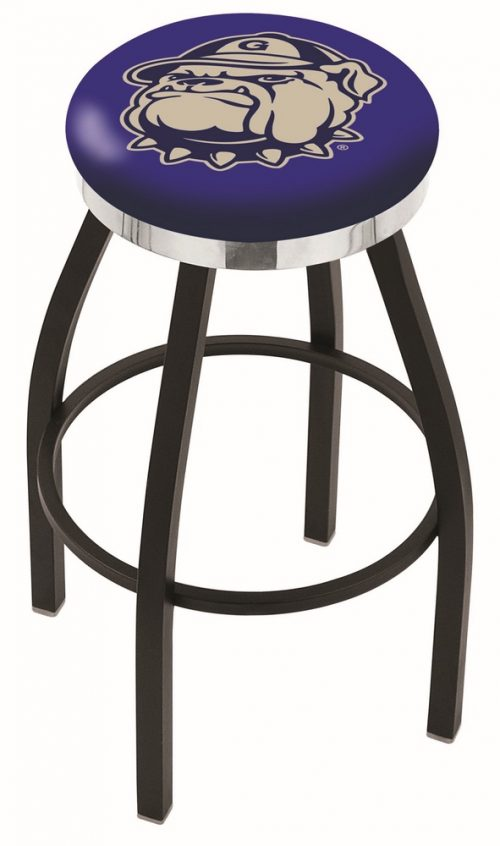 "Georgetown Hoyas (L8B2C) 25"" Tall Logo Bar Stool by Holland Bar Stool Company (with Single Ring Swivel Black Solid Welded Base)"