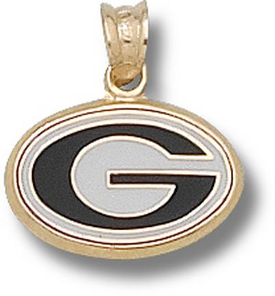 "Georgia Bulldogs 3/8"" ""G"" Enamel Pendant - 10KT Gold Jewelry"