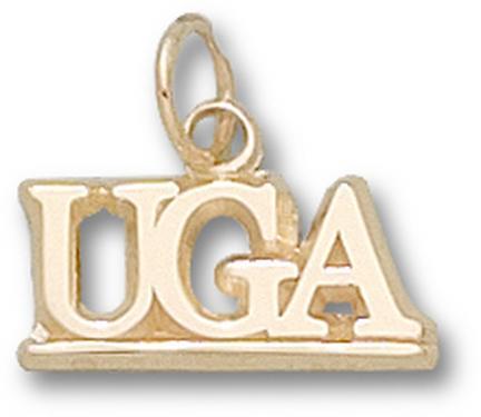 """Georgia Bulldogs 3/8"""" """"UGA"""" Charm - 10KT Gold Jewelry"""