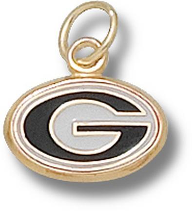 """Georgia Bulldogs 5/16"""" """"G"""" Enamel Charm - 10KT Gold Jewelry"""
