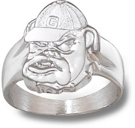 "Georgia Bulldogs ""Bulldog Face"" Men's Ring Size 10 1/2 - Sterling Silver Jewelry"