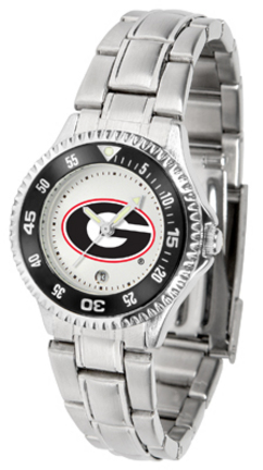 Georgia Bulldogs Competitor Ladies Watch with Steel Band