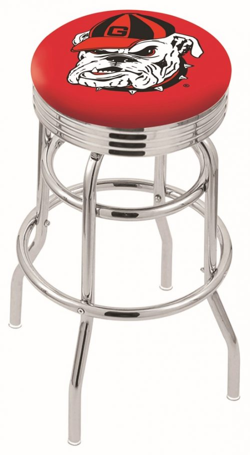 "Georgia Bulldogs (L7C3C) 30"" Tall Logo Bar Stool by Holland Bar Stool Company (with Double Ring Swivel Chrome Base)"