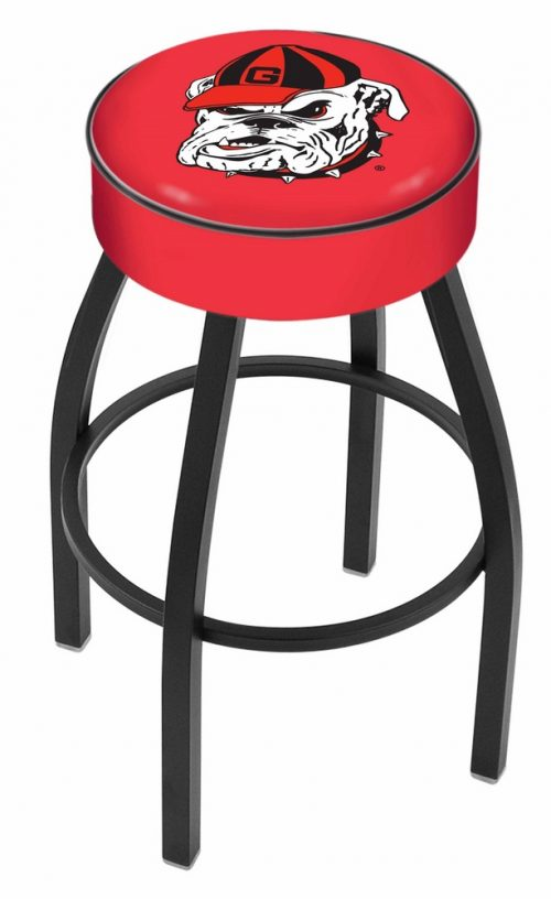 "Georgia Bulldogs (L8B1) 25"" Tall Logo Bar Stool by Holland Bar Stool Company (with Single Ring Swivel Black Solid Welded Base)"