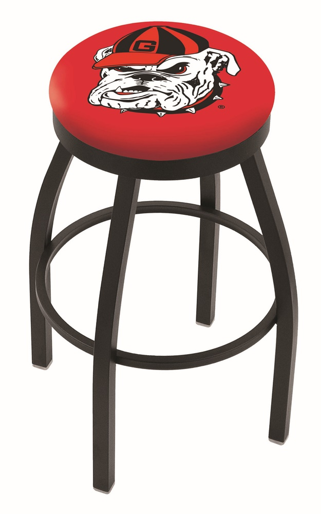 "Georgia Bulldogs (L8B2B) 30"" Tall Logo Bar Stool by Holland Bar Stool Company (with Single Ring Swivel Black Solid Welded Base)"