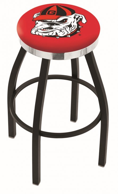 "Georgia Bulldogs (L8B2C) 25"" Tall Logo Bar Stool by Holland Bar Stool Company (with Single Ring Swivel Black Solid Welded Base)"