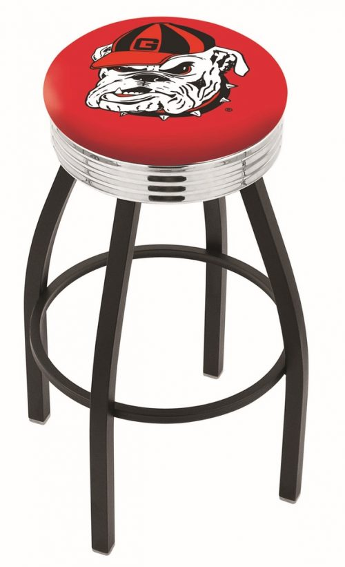 "Georgia Bulldogs (L8B3C) 30"" Tall Logo Bar Stool by Holland Bar Stool Company (with Single Ring Swivel Black Solid Welded Base)"