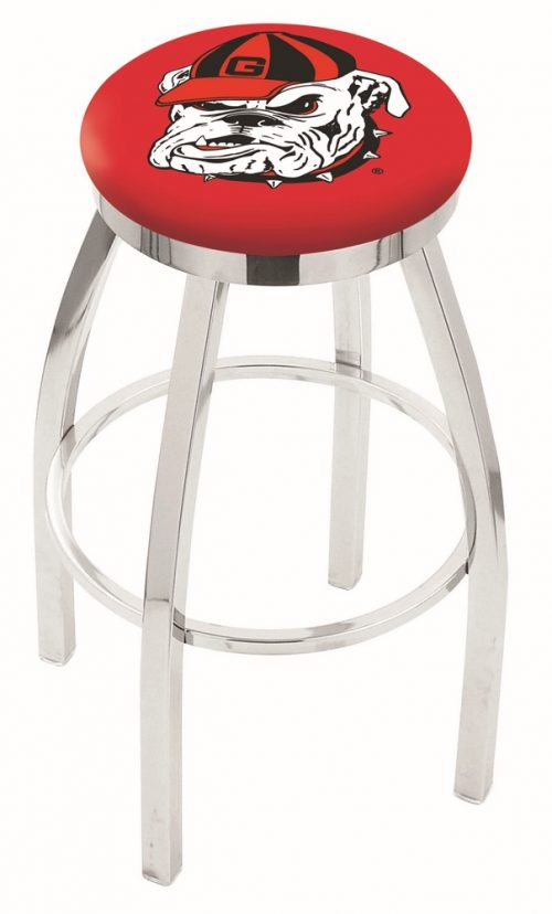 "Georgia Bulldogs (L8C2C) 30"" Tall Logo Bar Stool by Holland Bar Stool Company (with Single Ring Swivel Chrome Solid Welded Base)"