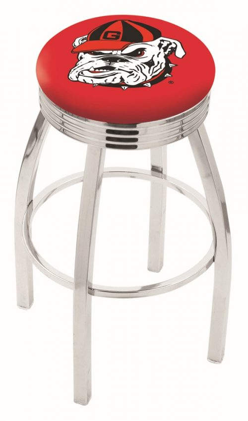 "Georgia Bulldogs (L8C3C) 25"" Tall Logo Bar Stool by Holland Bar Stool Company (with Single Ring Swivel Chrome Solid Welded Base)"