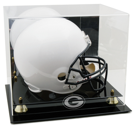 Georgia Bulldogs Logo Golden Classic Full Size Helmet Display Case