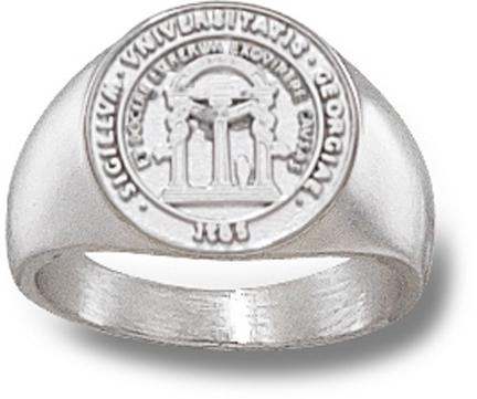 "Georgia Bulldogs ""Seal"" 1/2"" Ladies' Ring Size 6 1/2 - Sterling Silver Jewelry"