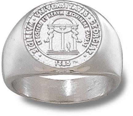 "Georgia Bulldogs ""Seal"" 5/8"" Men's Ring - Sterling Silver Jewelry (Size 10 1/2)"
