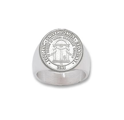 "Georgia Bulldogs ""Seal"" Men's Ring - Sterling Silver Jewelry (Size 10 1/2)"