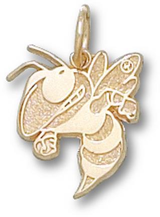 """Georgia Tech Yellow Jackets 3/8"""" """"Buzz"""" Charm - 10KT Gold Jewelry"""