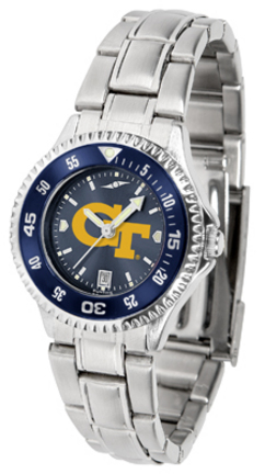 Georgia Tech Yellow Jackets Competitor AnoChrome Ladies Watch with Steel Band and Colored Bezel