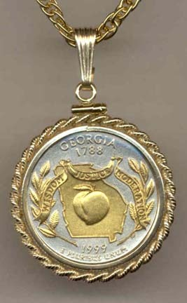 """Georgia Two Tone Rope Bezel Statehood Quarter with 18"""" Rope Necklace"""