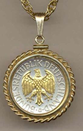 """German 1 Mark """"Eagle"""" Two Tone Gold Filled Rope Bezel Coin Pendant with 18"""" Chain"""