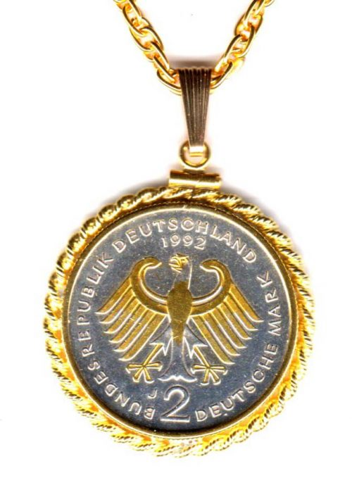 "German 2 Mark EAGLE Coin Pendant with 24"" Necklace ROPE Bezel ""Gold and Silver Artwork"