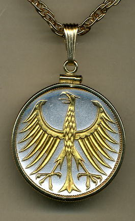 "German 5 Mark ""Eagle"" Two Tone Gold Filled Bezel Coin Pendant with 24"" Chain"