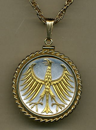 "German 5 Mark ""Eagle"" Two Tone Gold Filled Rope Bezel Coin Pendant with 24"" Chain"