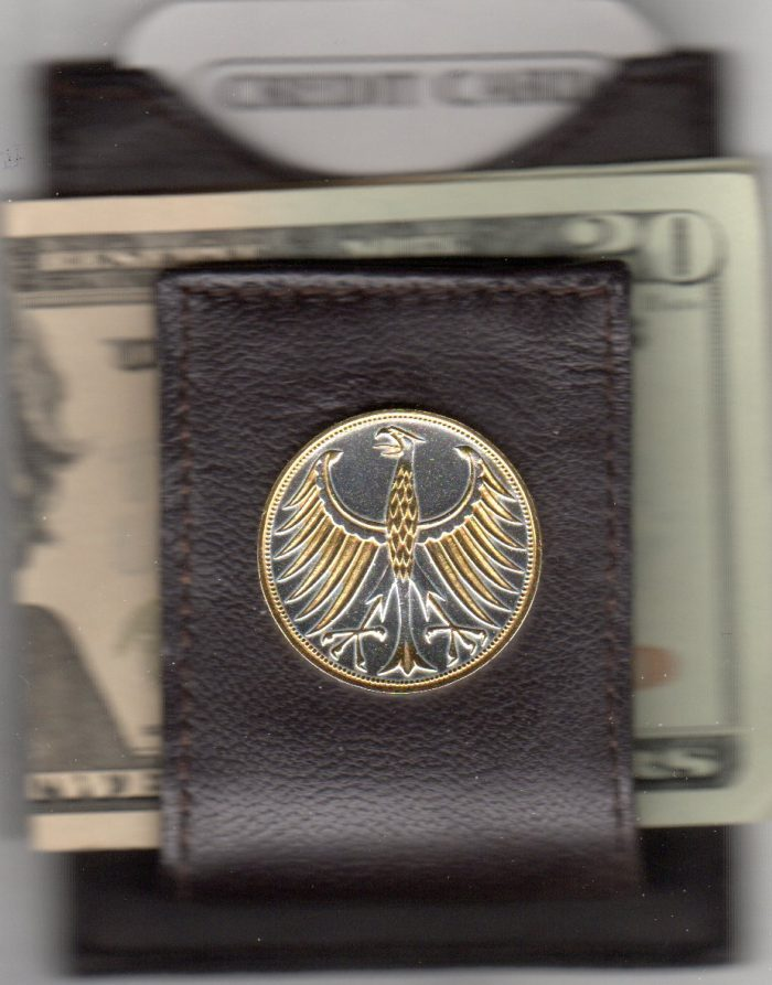 """German 5 Mark Silver """"Eagle"""" Two Tone Coin Folding Money Clip with Silver Highlights"""
