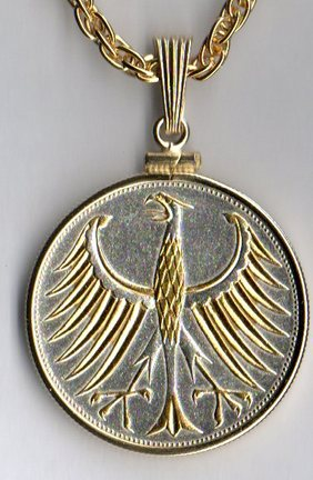 "German 5 Mark Silver ""Eagle"" Two Tone Plain Bezel Coin with 24"" Chain"
