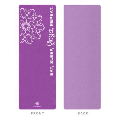 Global Quality Brands 3201YM Life Energy EkoSmart Yoga Mat-Yoga Repeat Purple & White