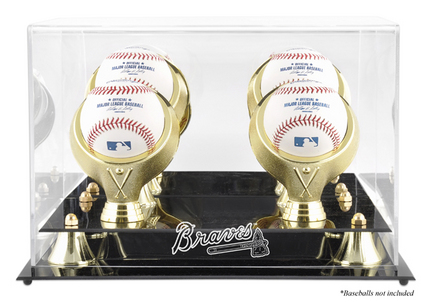 Golden Classic 4-Baseball Display Case with Atlanta Braves Logo
