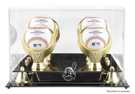 Golden Classic 4-Baseball Display Case with Cleveland Indians Logo