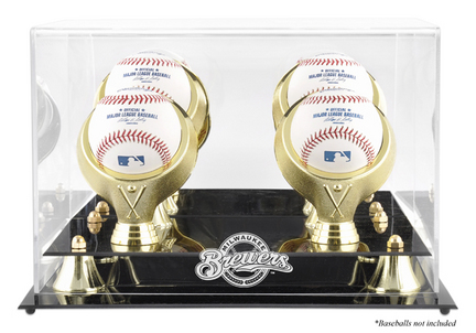 Golden Classic 4-Baseball Display Case with Milwaukee Brewers Logo