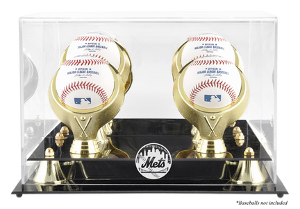 Golden Classic 4-Baseball Display Case with New York Mets Logo