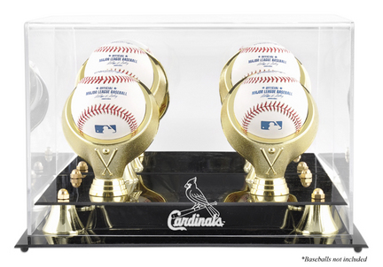 Golden Classic 4-Baseball Display Case with St. Louis Cardinals Logo