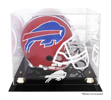 Golden Classic Football Helmet Display Case with Buffalo Bills Logo