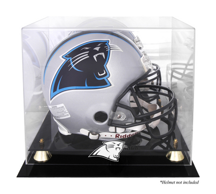 Golden Classic Football Helmet Display Case with Carolina Panthers Logo