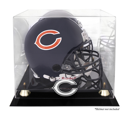 Golden Classic Football Helmet Display Case with Chicago Bears Logo