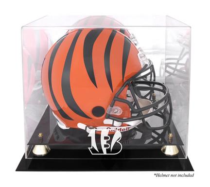 Golden Classic Football Helmet Display Case with Cincinnati Bengals Logo