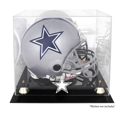 Golden Classic Football Helmet Display Case with Dallas Cowboys Logo