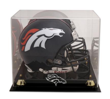Golden Classic Football Helmet Display Case with Denver Broncos Logo
