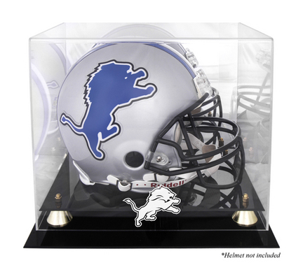 Golden Classic Football Helmet Display Case with Detroit Lions Logo