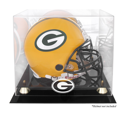 Golden Classic Football Helmet Display Case with Green Bay Packers Logo