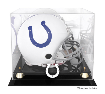 Golden Classic Football Helmet Display Case with Indianapolis Colts Logo