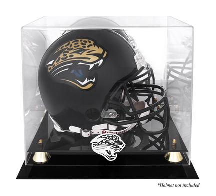 Golden Classic Football Helmet Display Case with Jacksonville Jaguars Logo