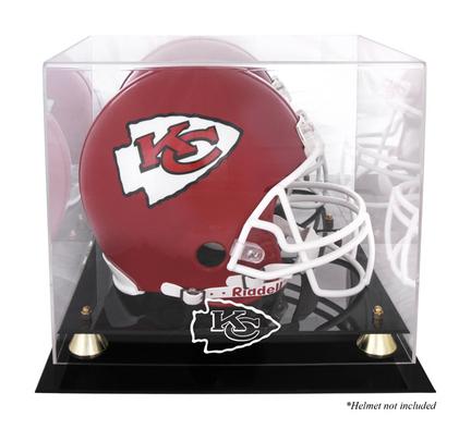 Golden Classic Football Helmet Display Case with Kansas City Chiefs Logo