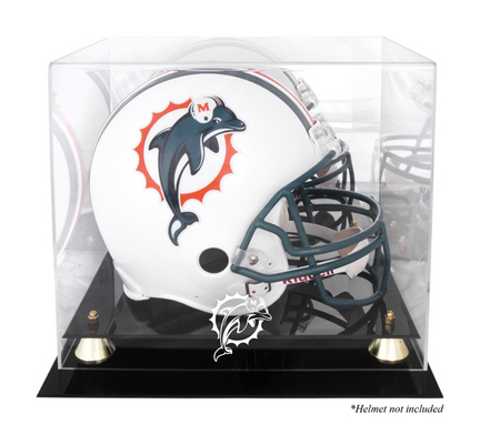 Golden Classic Football Helmet Display Case with Miami Dolphins Logo