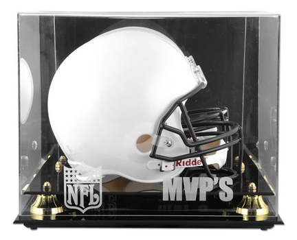 Golden Classic Football Helmet Display Case with NFL MVP Logo