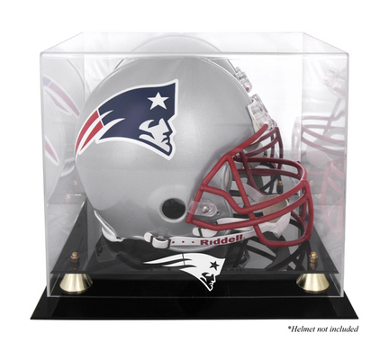 Golden Classic Football Helmet Display Case with New England Patriots Logo