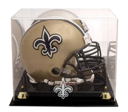 Golden Classic Football Helmet Display Case with New Orleans Saints Logo