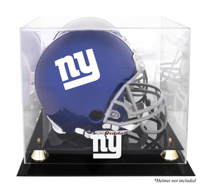 Golden Classic Football Helmet Display Case with New York Giants Logo