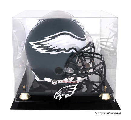 Golden Classic Football Helmet Display Case with Philadelphia Eagles Logo