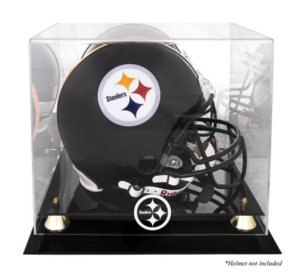 Golden Classic Football Helmet Display Case with Pittsburgh Steelers Logo